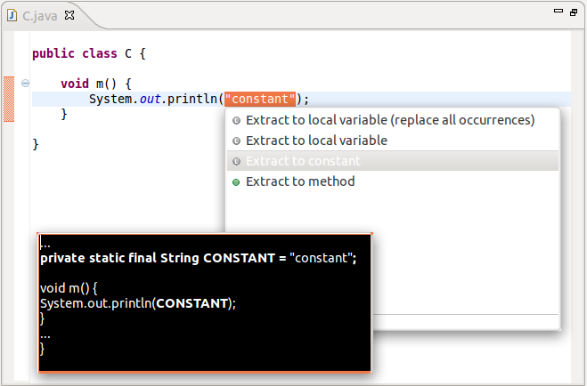 A screenshot of Extract Constant refactoring in the Quick Assist menu of Eclipse